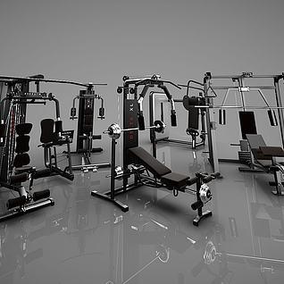 3d现代健身器材模型