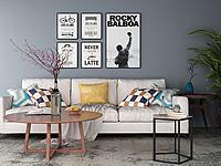 現代沙發茶幾壁畫組合3d模型