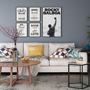 现代沙发茶几壁画组合3d模型
