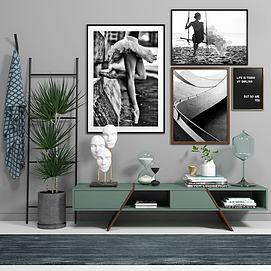 美式边柜装饰画陈设品组合模型