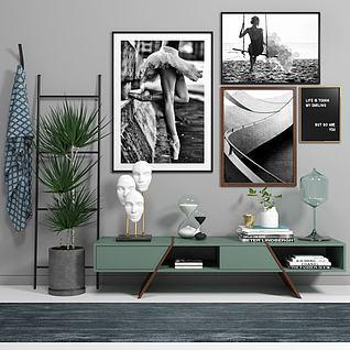 美式边柜装饰画陈设品组合3d模型