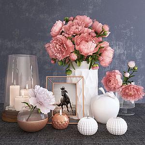 現代花瓶陳設品擺件組合模型3d模型