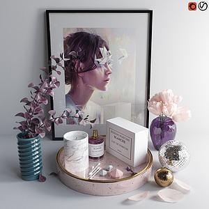 现代花瓶陈设品摆件组合模型3d模型