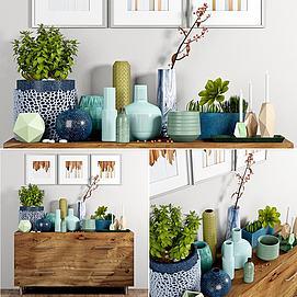 边柜花瓶陈设品组合模型