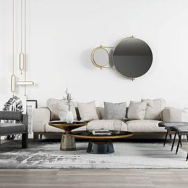 简约沙发茶几单椅摆件墙饰模型