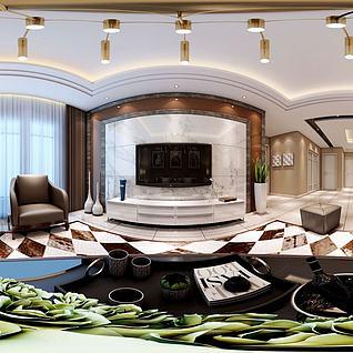 3d现代客厅餐厅模型