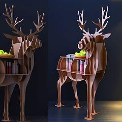 现代小鹿摆件柜模型3d模型
