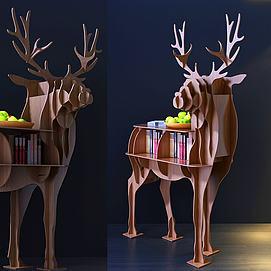 现代小鹿摆件柜模型