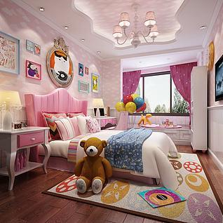 儿童女孩房3d模型