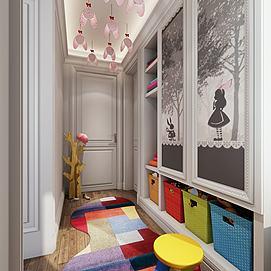 现代儿童小孩房模型