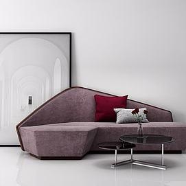创意沙发茶几组和模型