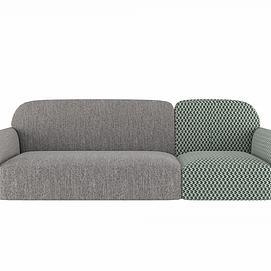 双色拼接沙发模型