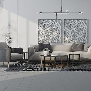 現代沙發茶幾吊燈裝飾畫3d模型