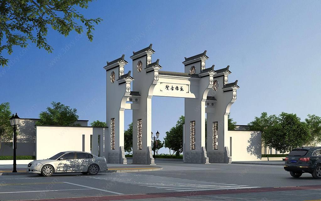 中式牌坊馬頭墻大門門樓