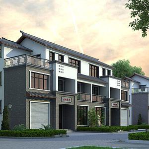 新中式别墅建筑外观模型
