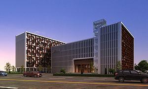 現代中醫院建筑外觀模型3d模型