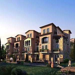 現代聯排別墅建筑外觀模型3d模型