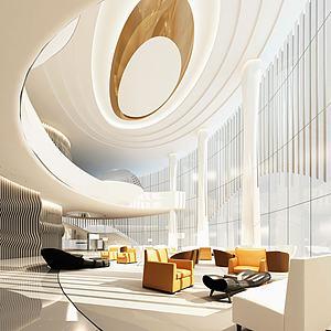 現代酒店前臺休息區3d模型