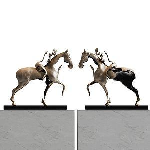 3d动物马金属摆件模型