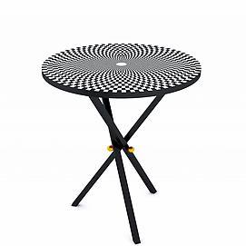 黑白格折叠圆桌模型