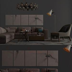 3d北欧休闲客厅布局模型