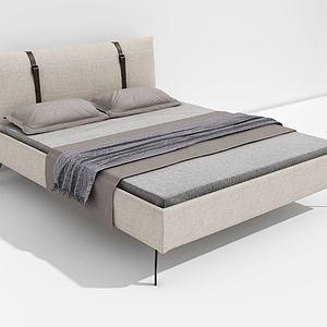简约棉麻双人床模型