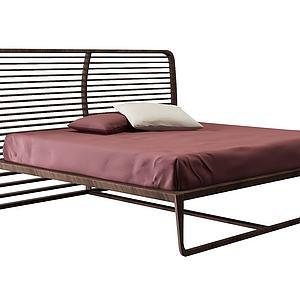 实木双人床模型