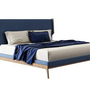 现代实木床模型