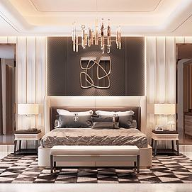 现代卧室创意吊灯模型