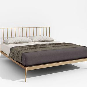 现代金色铁架床模型