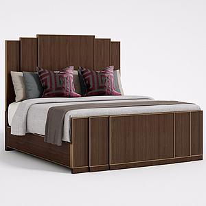 新中式实木双人床模型