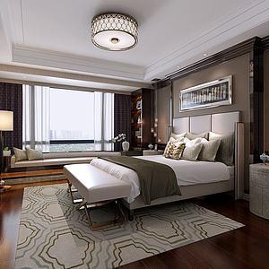 现代卧室双人床模型