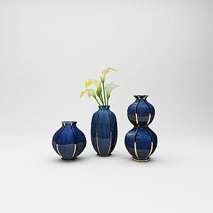 現代花瓶組合擺件模型3d模型