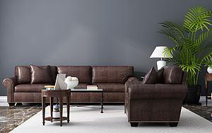 3d<font class='myIsRed'>美式沙发</font>茶几组合模型