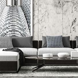 现代客厅沙发茶几模型