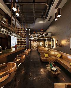 现代工业风酒吧3d模型