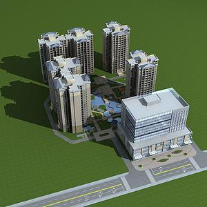 高层住宅小区模型