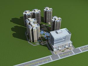 高层住宅小区3d模型