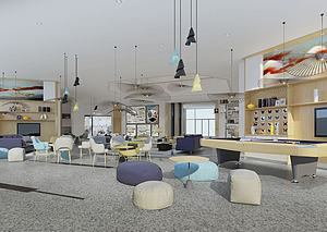 办公休闲区-交流交谈区3d模型