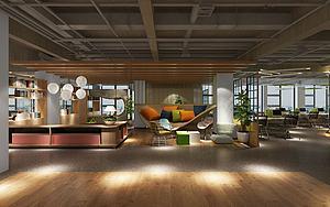 现代办公室办公休息区3d模型