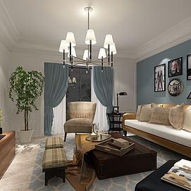 地中海风格客厅模型