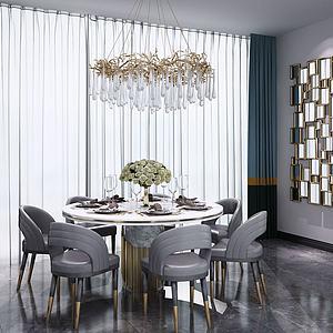 后现代欧式简约圆形餐桌椅模型3d模型