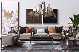 新中式沙发茶几3d模型