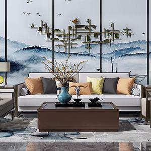 新中式沙发茶几模型3d模型
