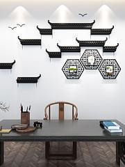 中式书房背景墙马头墙模型3d模型