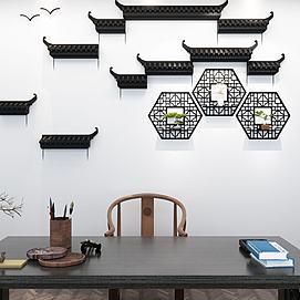 中式书房背景墙马头墙模型