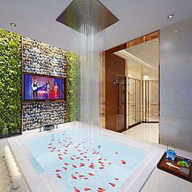 现代浴室浴缸模型