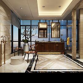 新中式卫生间模型