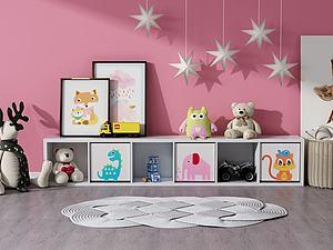 现代儿童书柜3d模型