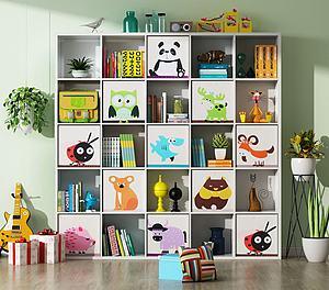 现代儿童书柜置物柜3d模型